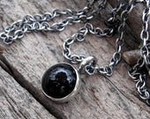 20% OFF Mothers Day Sale Black Onyx Button Necklace onyx necklace … sterling silver onyx necklace simple necklace black necklace