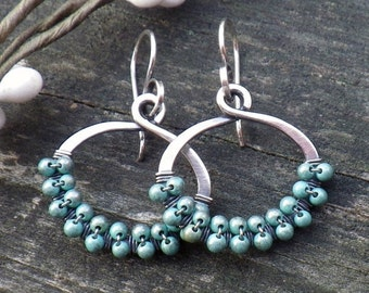 20% OFF Today Blue turquoise beaded sterling silver hoop dangle earrings
