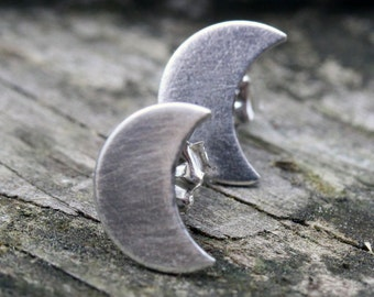 Crescent moon sterling silver stud earrings - oxidized