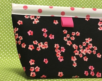 Pink Confetti Flowers Oilcloth Snappy Pouch - Large