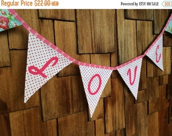 Entire Shop On SALE Love Bunting Wedding Flag Banner Decoration. Colorful Fabric Photo Prop, ready to ship as shown.