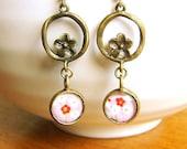 Japanese Earrings -  Chiyogami Earrings -  Japanese Paper Earrings - Plum Blossom Earrings - Pink Earrings -Drop Earrings - Dangle Earrings