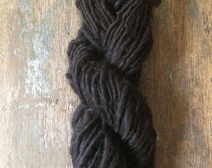 Natural dark brown alpaca handspun yarn, undyed handspun yarn, 74 yards, super soft single ply yarn, great for weaving, knitting, doll hair