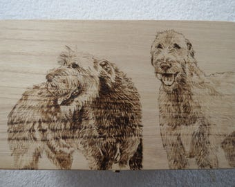 Pet Portrait Pyrographic art box Made to order You Provide Photo by Shannon Ivins Pigatopia
