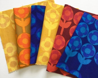 6x Vintage 60s Heals fabric squares called Verdure by Peter Hall - for small sewing projects Pack B