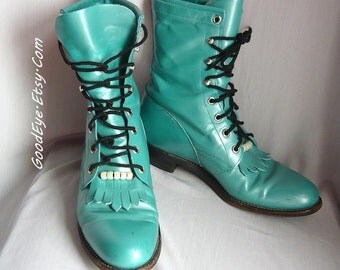 Fab Leather JUSTIN High Top Ankle Boots /  size 9 Eu 40 Uk 6.5 / Turquoise Oxfords Tassel Granny Lace Up Ropers / Signed MARK CHESTNUTT