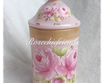 Pink Apothecary Glass Candy Jar Hand Painted Roses ecs svfteam