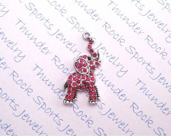 red ELEPHANT CHARM, Antique Silver, crystals, PENDANTS, jungle, zoo, good luck, Trunk Up