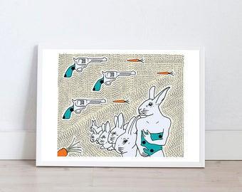 Art prints by Marta Fofi, rabbit print, art print, wall art, illustration, illustration print, poster