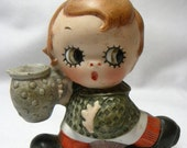 Cupie Porcelain Bisque figurine Japan 1920s  Match Holder and Ashtray