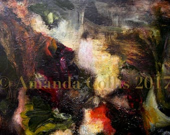 Fine art print, from oil painting, dark garden scene, surrealist abstract-figurative, gold, green, red, gold, magenta