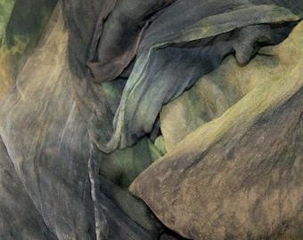 Bark in  Hand Dyed Silk Gauze  for Nuno Felting