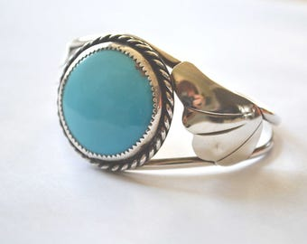Turquoise Cuff Bracelet, Native American Bracelet, Sleeping Beauty Turquoise, Vintage Cuff Bracelet, Sterling Silver Cuff Bracelet