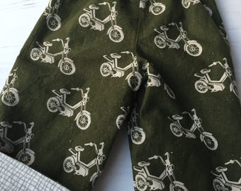 Flannel reversible pants, sizes 6m-12m, 12m-18m, 18-24m, 3T, olive motorbike