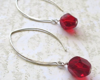 Ruby red beaded earrings faceted czech glass beads on long sterling silver earwires