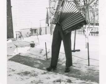 vintage photo 1951Very TAll Young Man Ken Playing Accordion in Snow