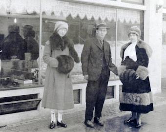 vintage photo Seward Alaska Fur FAshion in Winter Women Man RPPC
