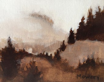 Postcard original acrylic 5x7 inches brown landscape painting of the foggy Pacific Northwest Day 24 of 30 in 30 Days by Barb Mowery