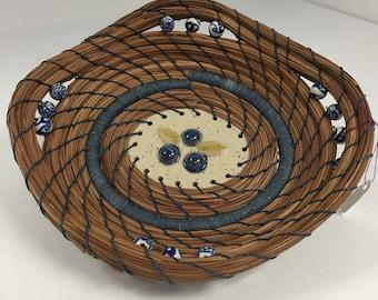 Pine needle blueberry accent basket