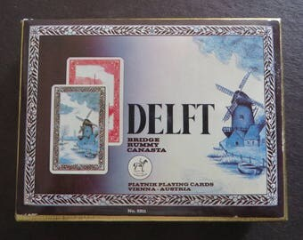 Double deck Canasta playing cards Delft pattern Windmill Boats Vienna Austria