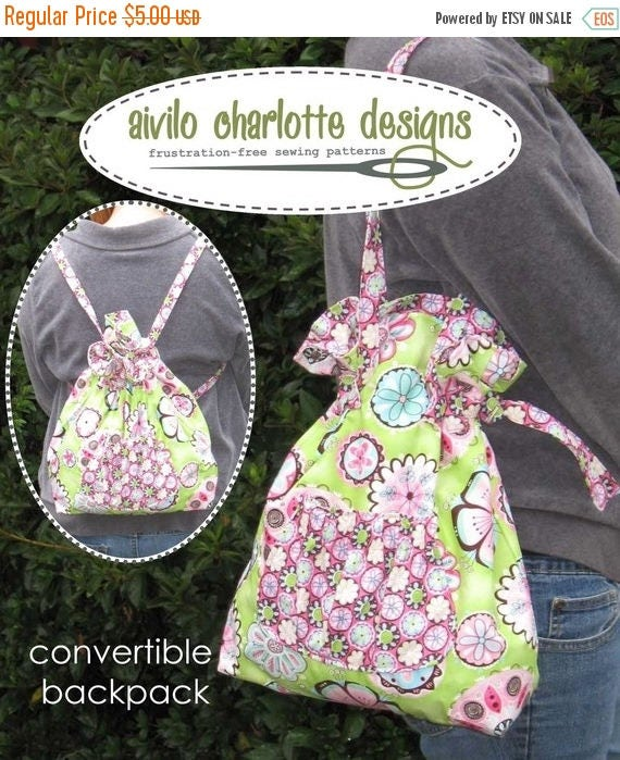 SALE Easy PDF Sewing Pattern - Convertible Backpack to Tote - Instant Download - drawstring backpack converts to a cinched tote bag