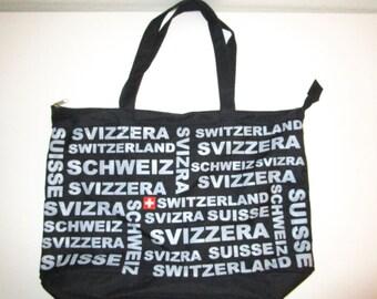 Switzerland Tote Bag - Souvenir Lightweight Canvas Bag - Zipper Top