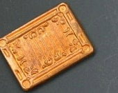 "Vintage copper decorative rectangle component. 3/4"" x 5/8""."