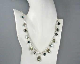 Labradorite and Abalone Sterling Seascape Necklace