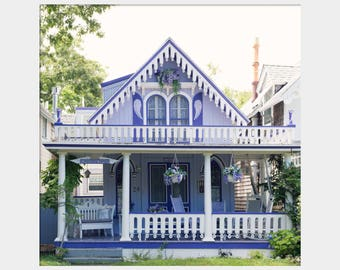 Purple Angel House, Wesleyan Grove House, Wesleyan Grove Photo, Purple House Photo, Oak Bluffs Photo, Gingerbread House, Front Porch Print