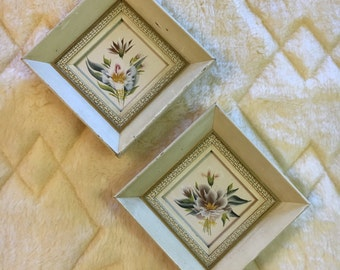 """Framed Floral Wall Hangings from Franklin Picture, 7"""" Frame, Diamond Shaped, Lightly Distressed"""