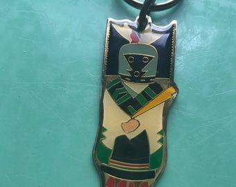 Vintage Enameled Kachina Doll Key Ring • Southwest Indian Lore • Native American • Keychain