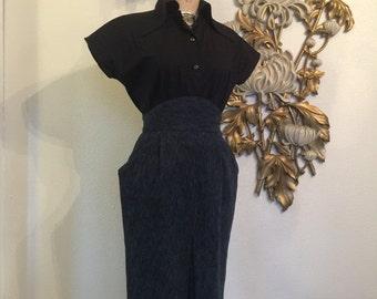 Fall sale 1980s skirt high waist skirt 80s does the 40s size medium gray skirt 27 waist pencil skirt rockabilly skirt