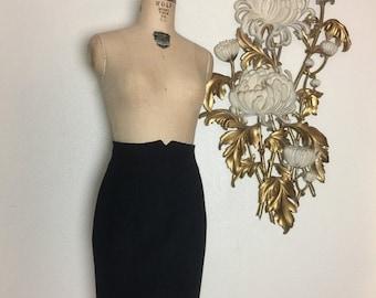 Fall sale 1980s skirt pencil skirt size medium vintage skirt wiol skirt high waist skirt black skirt wiggle skirt