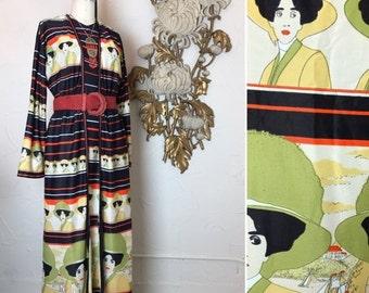 Fall sale 1970s dress maxi dress novelty print reto dress size large gibson girl print vintage dress tunic dress