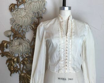 1970s blouse ivory blouse bohemian blouse gunne sax style size medium Victorian style puff sleeves blouse