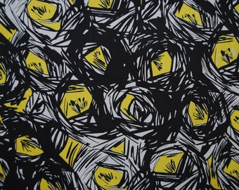 VINTAGE Fabric ABSTRACT 80s cotton apparel MIY fabric