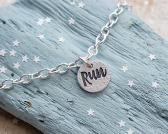 Runner Bracelet - Silver Run Bracelet - Motivational Bracelet - Bracelet for Runner - Running Gift - Marathon Gift - Run inspiration - Run