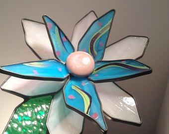 Pink and blue 3-D large stained glass garden flowers - Gardener, Women, Man, Birthday, Valentines Day, Art, Handmade, Gift.