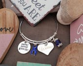 DB-1 Colon Cancer Bracelet  Cancer Awareness Jewelry Never Give Up Bracelet Heart Charm Jewelry Gift For Her  #W3
