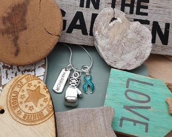 TE-2 Cervical Cancer Necklace Ovarian Cancer Awareness PCOS Awareness PTSD Warrior Boxing Necklace Tourettes Charm Jewelry Glove Necklace