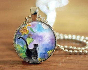 "Watercolor Kitty Necklace with blue and purple tones in 1"" setting, black cat with moon, cat lover gift"
