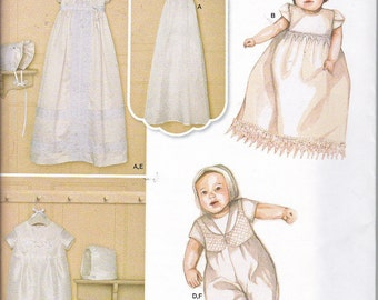 Simplicity 8024 Baby Christening Blessing Baptism Gowns One Piece Suit Dress Romper & Bonnet Sewing Pattern Sizes XXS-M Out of Print UNCUT