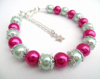 Hot Pink and Mint Green Bracelet with Star Charm, Bridesmaids Jewelry Gift, Pink Pearl Bracelet, Single Strand Bracelet, Hot Pink Wedding