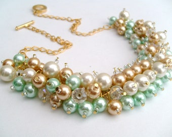 Set of 6 Chunky Pearl Necklaces, Mint Green Gold and Ivory, Bridesmaid Jewelry, Cluster Necklace, Bridesmaid Gift, Bridal, Mint Wedding