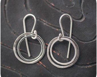 Hammered Circles - Shiny Dangling Sterling Silver Earrings