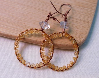 Citrine Wire Wrapped Diamond Quartz Hoop Dangle Earrings Hypo-allergenic Antique Copper and Bronze Parawire Wire Wrapped Handmade Jewelry