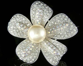 Swarovski Crystal Cream White PEARL 5 Petal FLOWER Floral Bridal Bridesmaid Mother of Bride Pin Brooch Jewelry For Sash Hair Wedding Dress
