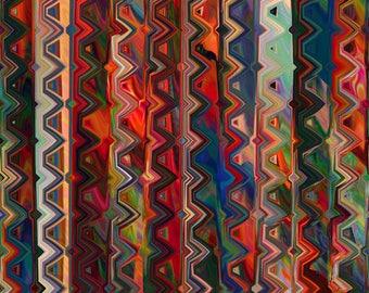 Artist Made Canvas Fabric Panel Abstract Marble Swirls of Fall Tones Fiber Art