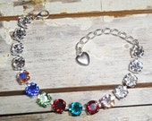 Birthstone, Mothers, Family, Grandmothers, Swarvoski Crystal, Tennis Bracelet, Sterling Silver Plated