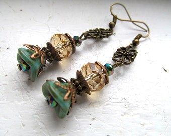 Victorian Earrings, Floral Dangles, Boho Jewelry, Antique Brass, Turquoise Gold, Bohemian, Boho Chic
